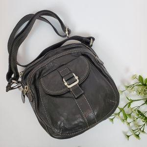 FOSSIL Black Leather Crossbody Bag Purse